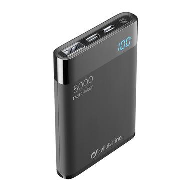 Cellularline FreePower Manta HD 5000 - Universal Caricabatterie portatile ultrapiccolo con celle ad alta densità Nero