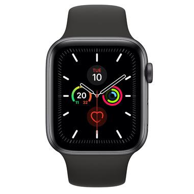 Apple Watch Series 5 GPS, 44mm in alluminio grigio siderale con cinturino Sport Nero