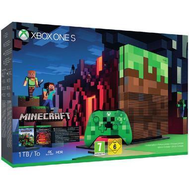 Microsoft Xbox One S 1TB + Controller Wireless 1000GB Wi-Fi serigrafata Minecraft