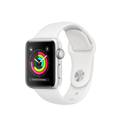 Apple Watch Series 3 GPS, 38mm in alluminio argento con cinturino Sport Bianco